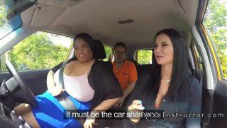 Porcelline lesbiche si leccano a vicenda in macchina